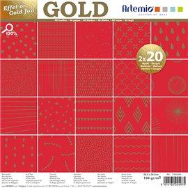 Papier scrapbooking assortiment rouge foil or 2x20fe 30x30