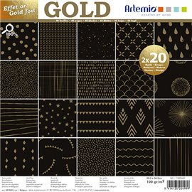 Papier scrapbooking assortiment noir foil or 2x20fe 30x30