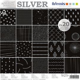 Papier scrapbooking assortiment noir foil argent 2x20fe 30x30