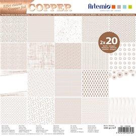 Papier scrapbooking assortiment blanc foil cuivre 2x20fe 30x30