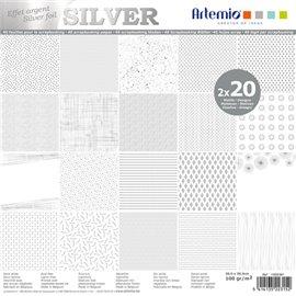 Papier scrapbooking assortiment blanc foil argent 2x20fe 30x30