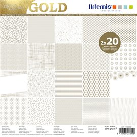 Papier scrapbooking assortiment blanc foil or 2x20fe 30x30