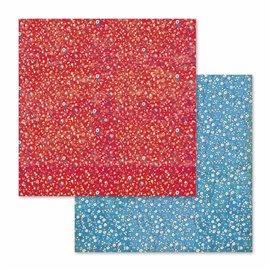Papier scrapbooking réversible patchwork de fleurs 30x30