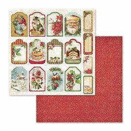 Papier scrapbooking réversible christmas vintage 30x30