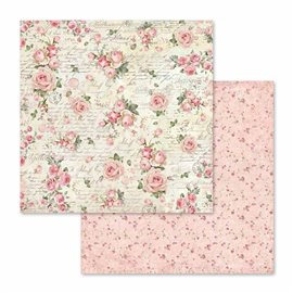 Papier scrapbooking réversible little roses 30x30