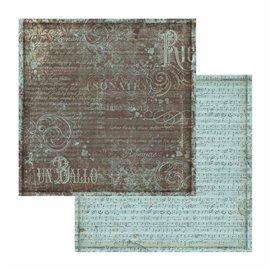 Papier scrapbooking réversible musique texturé bleu 30x30