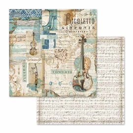 Papier scrapbooking réversible musique rigoletto violon 30x30