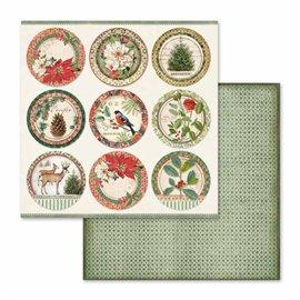 Papier scrapbooking réversible winter oiseaux 30x30