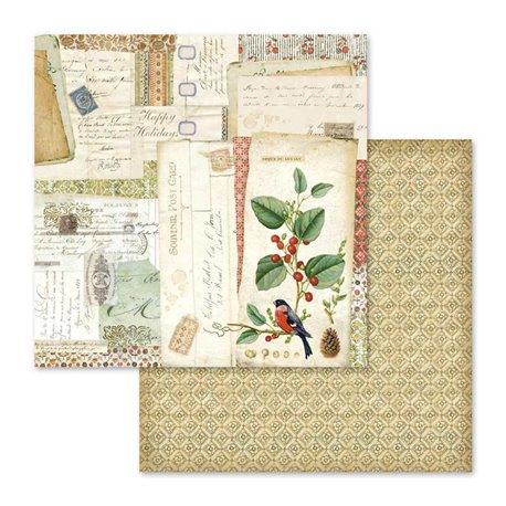 Papier scrapbooking réversible winter botanic oiseaux 30x30