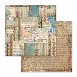 Papier scrapbooking réversible musique rigoletto 30x30