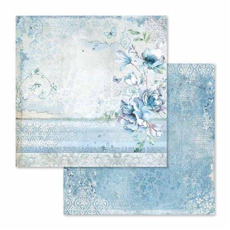 Papier scrapbooking réversible blue land 30x30