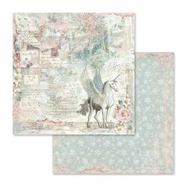 Papier scrapbooking réversible unicorn fantasy 30x30