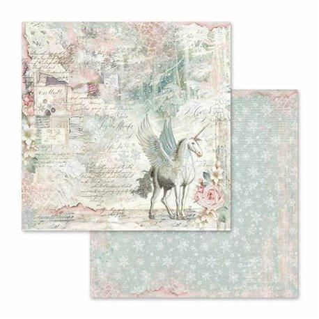 Papier scrapbooking réversible unicorn fantasy 30x30