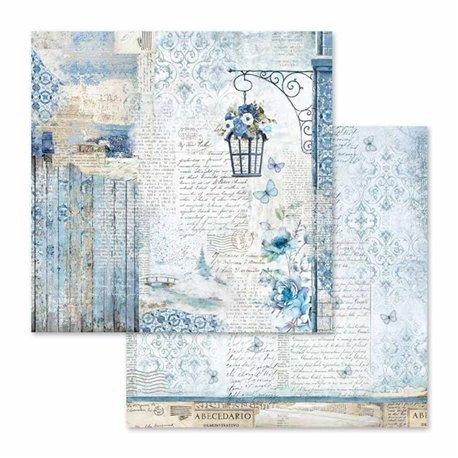 Papier scrapbooking réversible blue land écritures 30x30