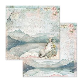 Papier scrapbooking réversible fairy unicorn 30x30