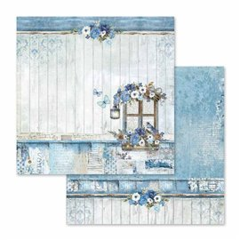 Papier scrapbooking réversible bluel land 30x30