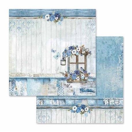 Papier scrapbooking réversible bluel land 30x30