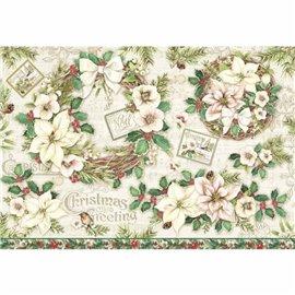 Papier de riz joyeux noël christmas greeting Stamperia