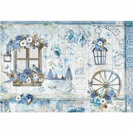 Papier de riz blue land Stamperia