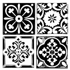Pochoir déco stencil mosaïque 18x18cm 4 motifs