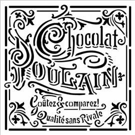 Pochoir déco stencil chocolat poulain 18x18cm