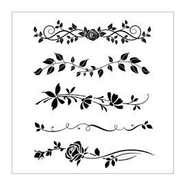Pochoir déco stencil frises de roses 20x25cm 5 motifs