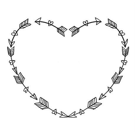 Tampon bois mariage coeur