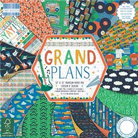 Papier scrapbooking assortiment grand plans bloc 48fe 30x30