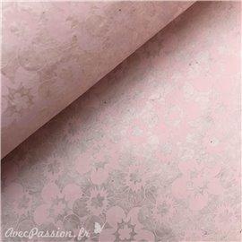 Papier népalais lokta fleurs parme ton sur ton