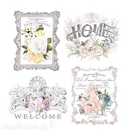 Transfert décor pelliculable Redesign Prima marketing Floral Home 4 motifs 28x38cm