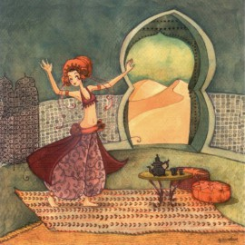 Carte postale Anne Soline danseuse du désert