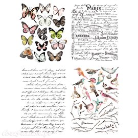 Transfert pelliculable Redesign Prima marketing décor Parisian Butterflies 4 motifs