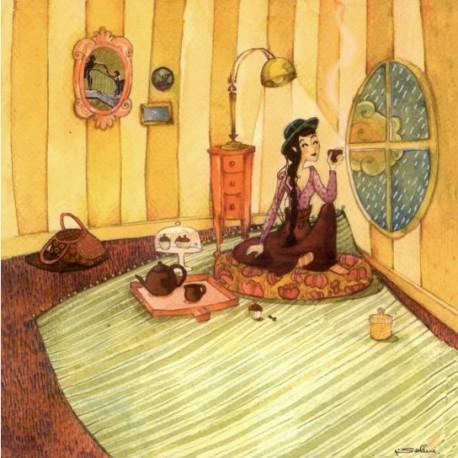 Carte postale Anne Soline la pluie
