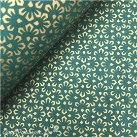 Papier népalais lokta vert émeraude fleurs dorées