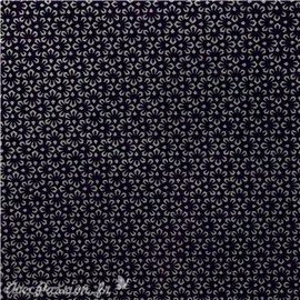 Papier népalais lokta noir fleurs argent