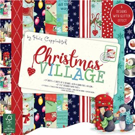 Papier scrapbooking assortiment noël christmas village 24fe 30x30