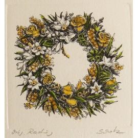 Gravure originale couronne printemps