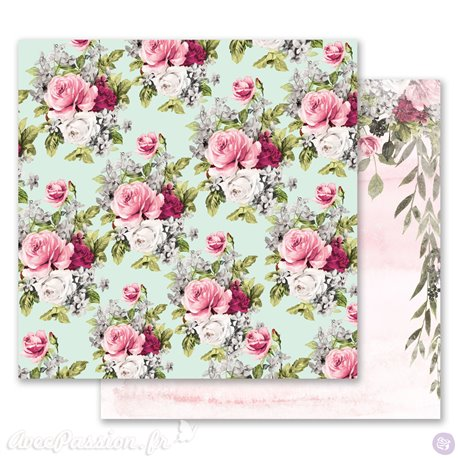 Papier scrapbooking Prima Marketing réversible Misty Rose Flowers for Her