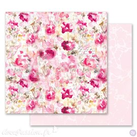 Papier scrapbooking Prima Marketing réversible Misty Rose Scattered Dreams