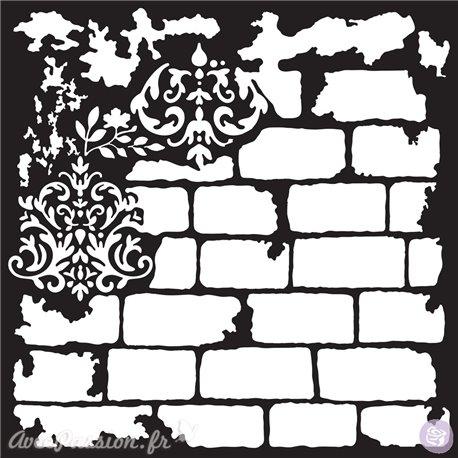Pochoir déco 3D géant Redesign Brick and Damask 58x58cm