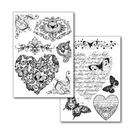 Transfert d'image noir motif shabby chic papillons