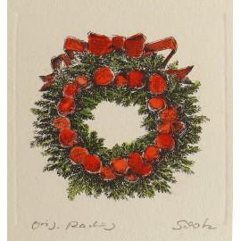 Gravure originale couronne hiver