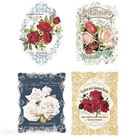 Transfert pelliculable Redesign Prima marketing décor Wild Roses 4 motifs