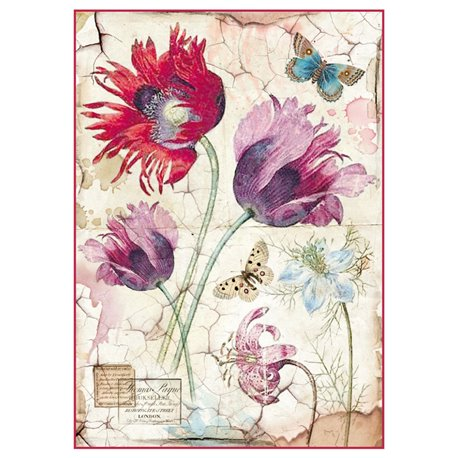 Papier de riz tulipes Stamperia format A4