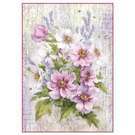 Papier de riz bouquet de fleurs Stamperia format A4