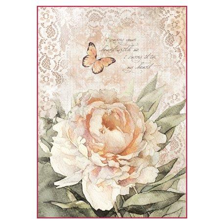 Papier de riz rose rose Stamperia format A4