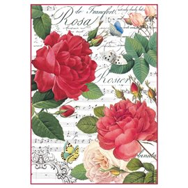 Papier de riz rose rouge et partition Stamperia format A4