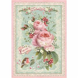Papier de riz rose for you Stamperia format A4