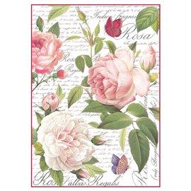 Papier de riz rose vintage Stamperia format A4