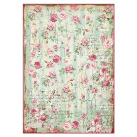 Papier de riz petites roses Stamperia format A4